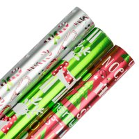 JAM Christmas Wrapping Paper, 75 Sq Ft Total, 3/Pack, Holiday Jingle Foil Gift Wrap Set
