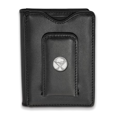 Roy Rose Jewelry Sterling Silver NHL LogoArt Buffalo Sabres Black Leather Wallet