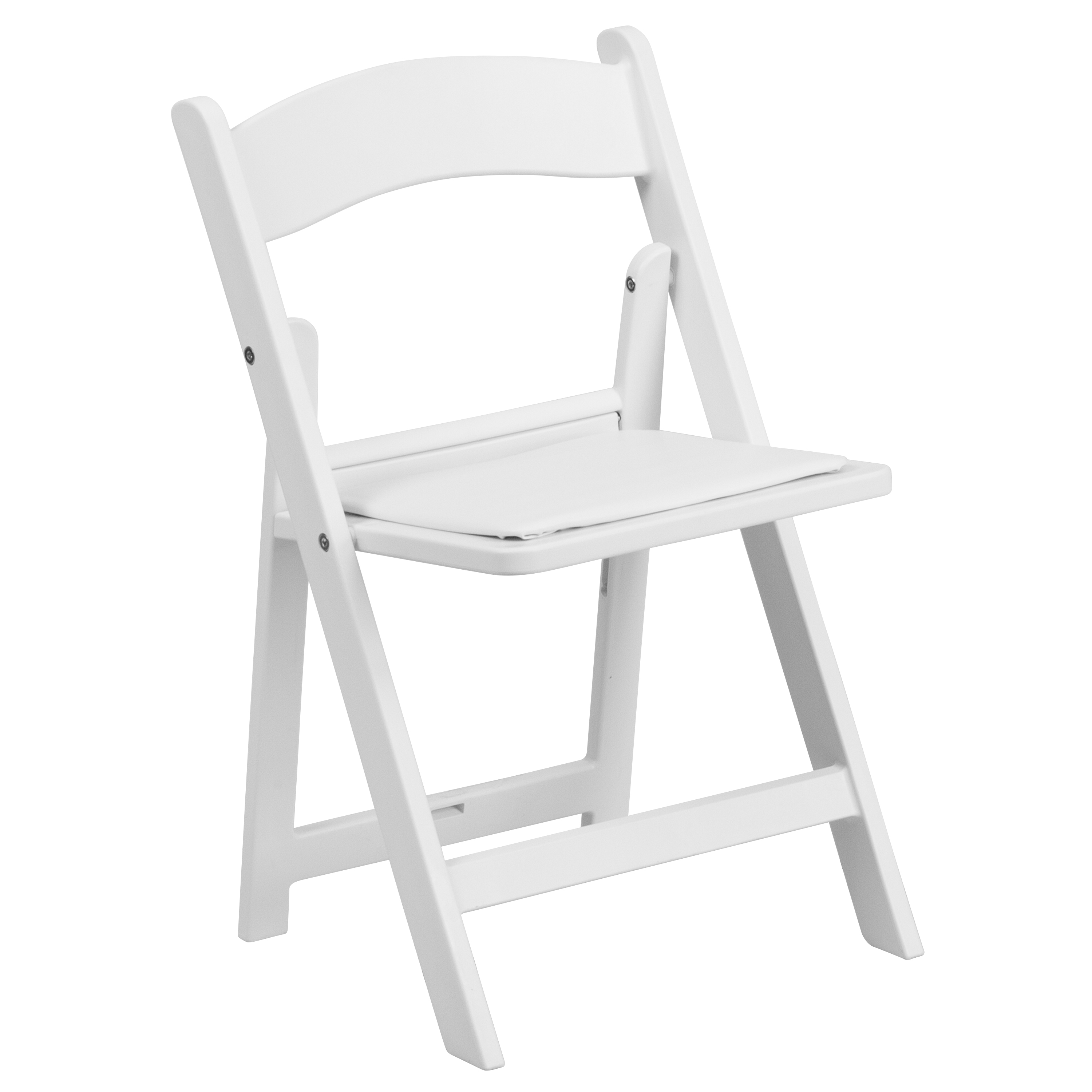 Flash Furniture Kids White Resin Folding Chair with White Vinyl Padded Seat