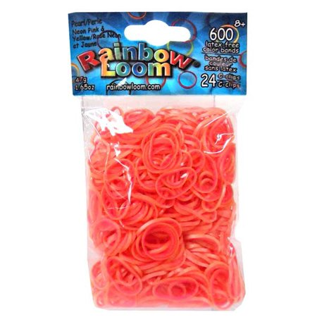 Rainbow Loom Pearl Neon Pink & Yellow Rubber Bands Refill Pack [600 ct] (Looming Band)