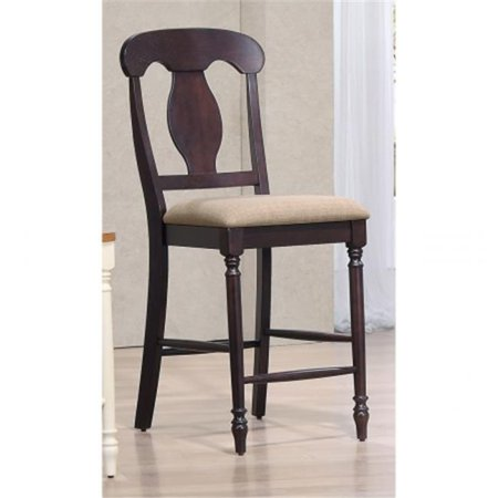 24 in. Napoleon Back Counter Stool, Upholstered Seat & Mocha Frame Mocha Upholstered Seat