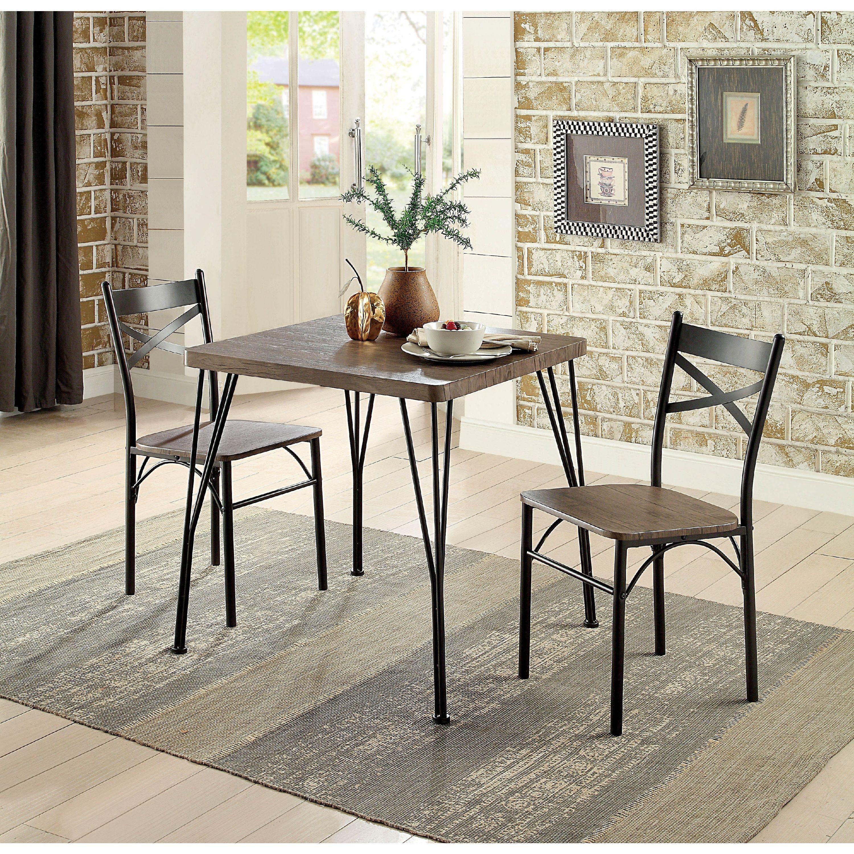 Furniture of America  Hathway Industrial 3-piece Dark Bronze Compact Dining Set