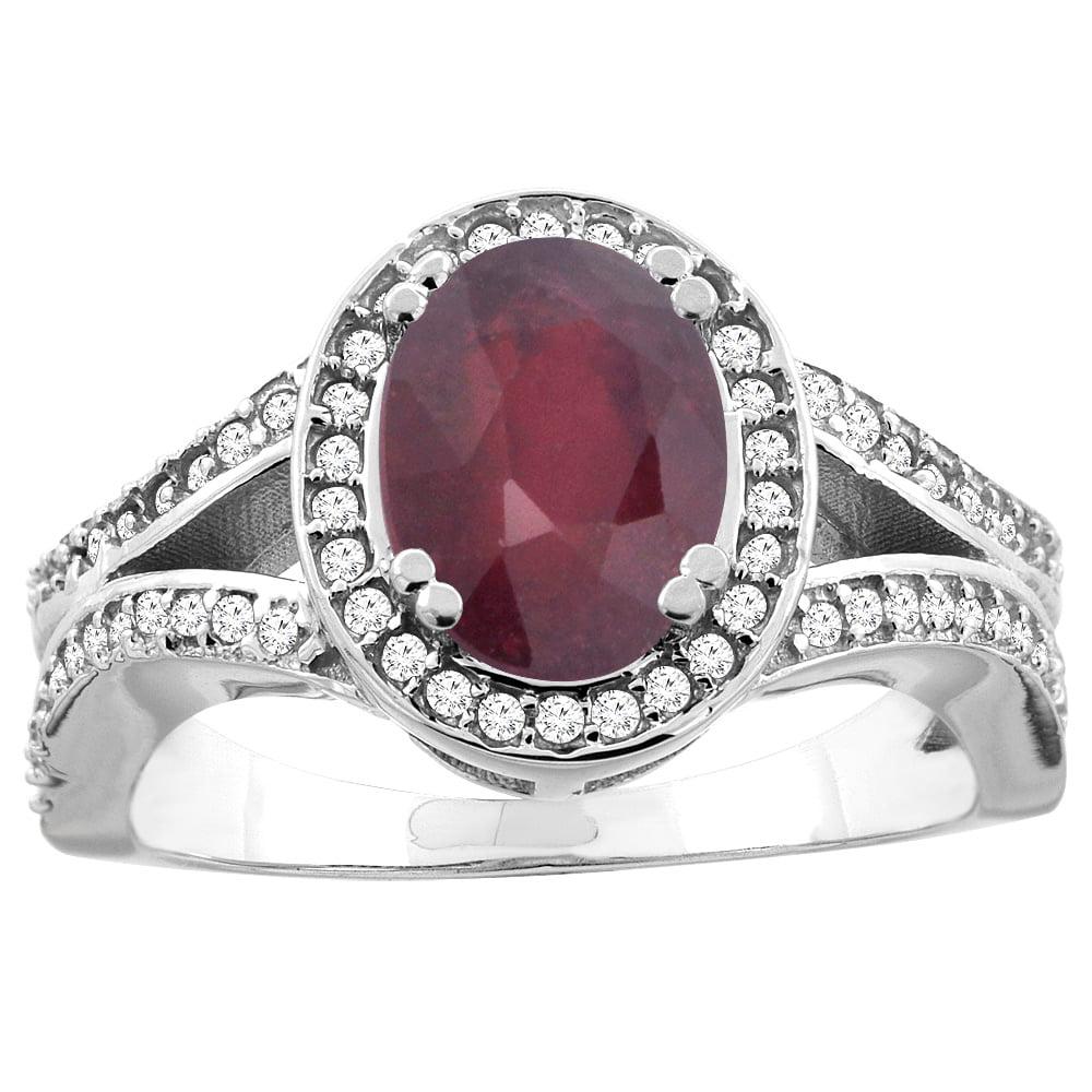 14k White Gold Diamond Halo Genuine Quality Ruby Ring Split Shank Oval 8x6mm, size 5 by Gabriella Gold