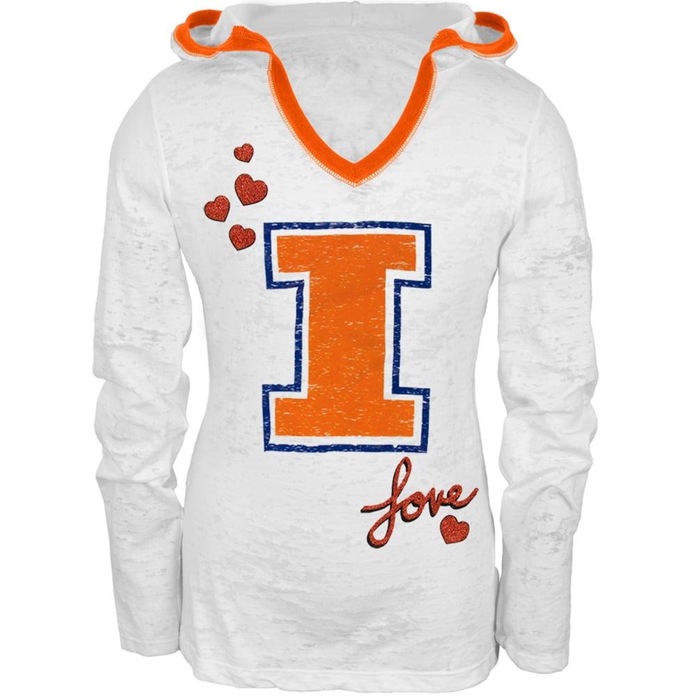 Illinois Fighting Illini - Girls Youth Burnout Hooded Long Sleeve T-Shirt