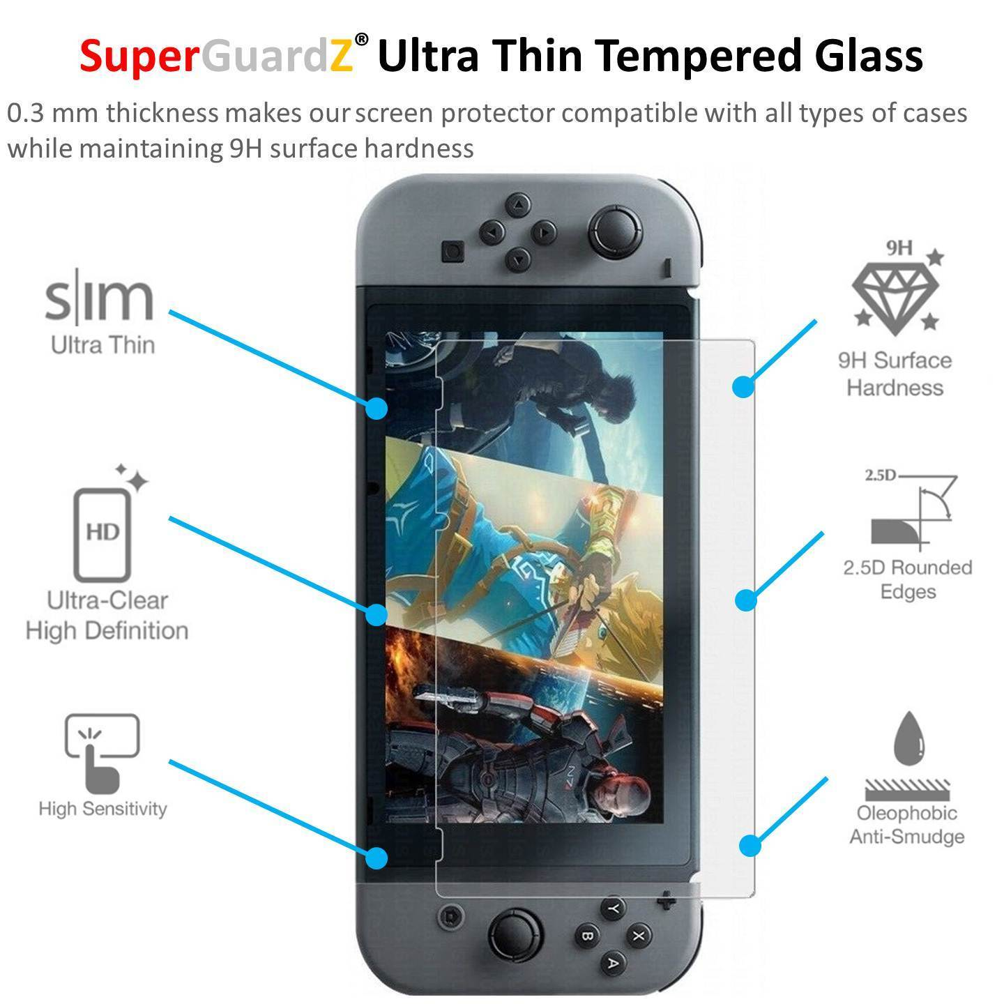 finest selection 0b58c 3742a For Nintendo Switch - SuperGuardZ Tempered Glass Screen Protector, 9H,  Anti-Scratch, Anti-Bubble, Anti-Fingerprint