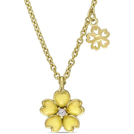 Cutie Pie White Topaz Yellow Rhodium-Plated Sterling Silver Children's Flower Charm Pendant with Yellow Enamel, 14