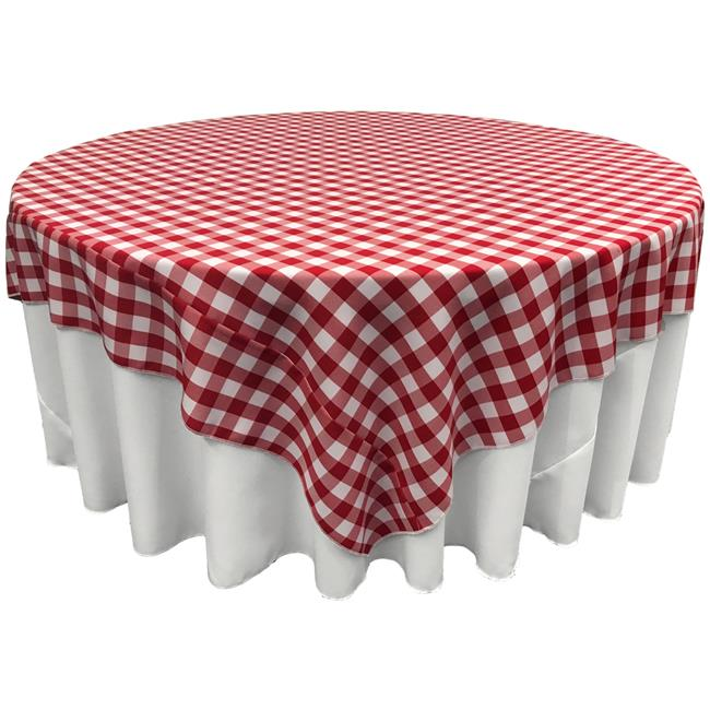 La Linen Tccheck72x72 Redk98 Polyester, What Size Tablecloth For 48 X 72 Table
