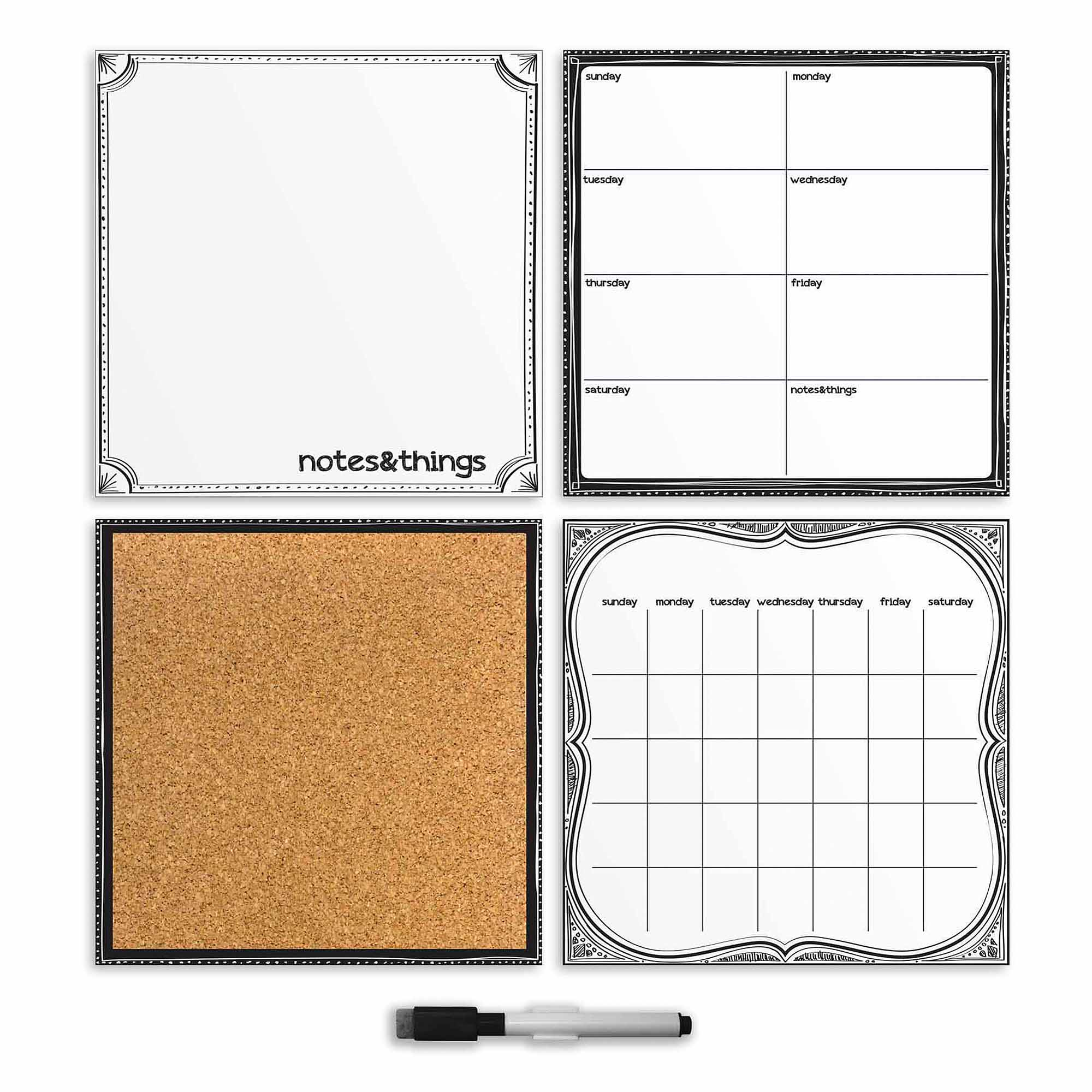 WallPops Black and White Sketch Organizer Set Decals