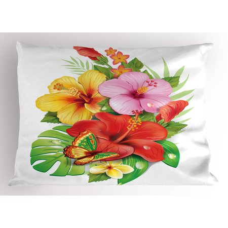 Hawaiian Pillow Sham Bouquet of Colorful Hibiscus Flowers with a Butterfly Blooming Plumeria Petals, Decorative Standard Queen Size Printed Pillowcase, 30 X 20 Inches, Multicolor, by (Island Standard Sham)