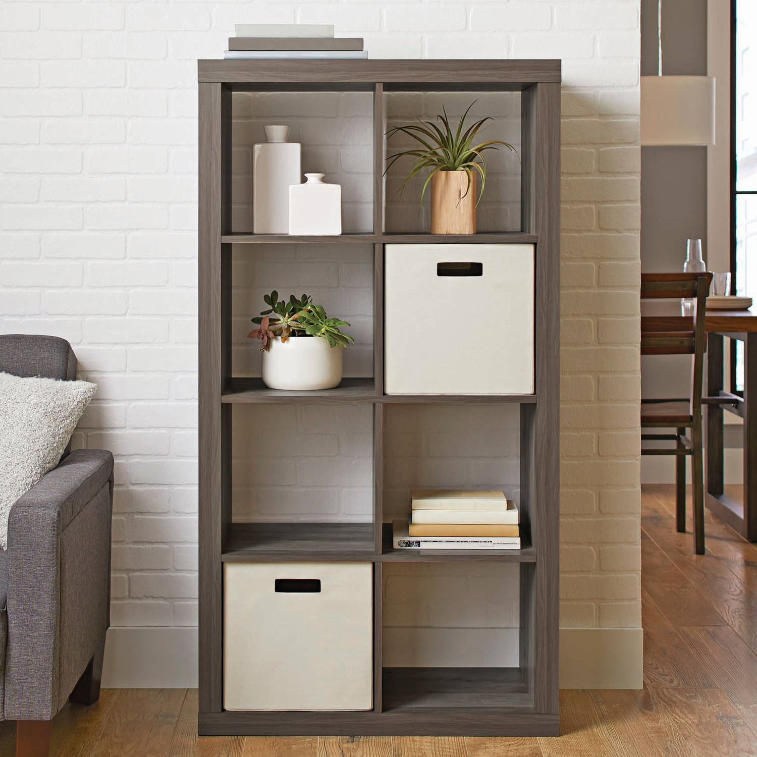 Better Homes and Gardens 8 Cube Storage, Rustic Grey Finish