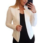 Women Long Sleeve Plain Blazer Suit Tops Jacket Casaul Slim Fit OL Office Evening Cardigan Coat Outwear Plus Size S-5XL