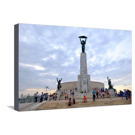 Gellert Hill (The Liberty Statue, a Monument on the Gellert Hill, Budapest, Hungary, Europe Stretched Canvas Print Wall Art By Carlo Morucchio)