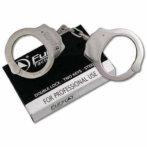 Fury Tactical Double Lock Handcuffs, Chain Silver, Includes Two Universal Handcuff Keys