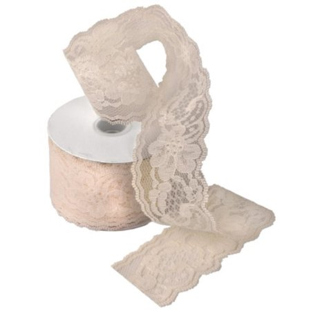 AK TRADING Floral Pattern Lace Ribbon for Decorating, Floral Designing & Crafts, 2W, Ivory (Ivory Lace Ribbon)