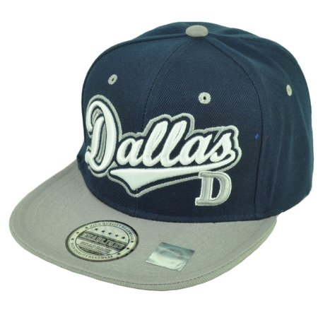 Dallas Texas City 3D Logo Snapback Flat Bill Brim Landscape Print Hat Cap (Texas City Outlets Stores)