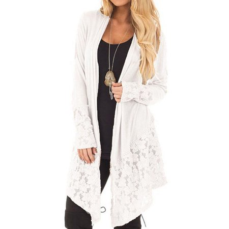 Women's Fashion Lace Patchwork Long Sleeve Casual Pure Color Cardigan Coat