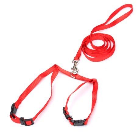 Pet Cat Tie Out Kitten Adjule Nylon Harness Lead Leash Collar Belt Safety Rope Red Color