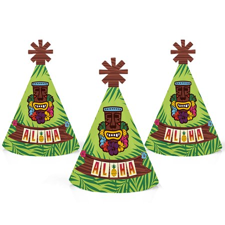 Tiki Luau - Mini Cone Tropical Hawaiian Summer Party Hats - Small Little Party Hats - Set of 10