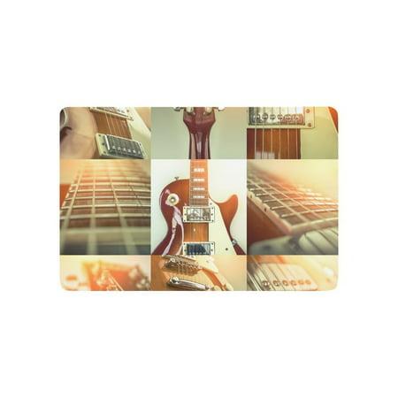 MKHERT Collage of Rock Guitar Popular Musical Instrument Doormat Rug Home Decor Floor Mat Bath Mat 23.6x15.7 inch