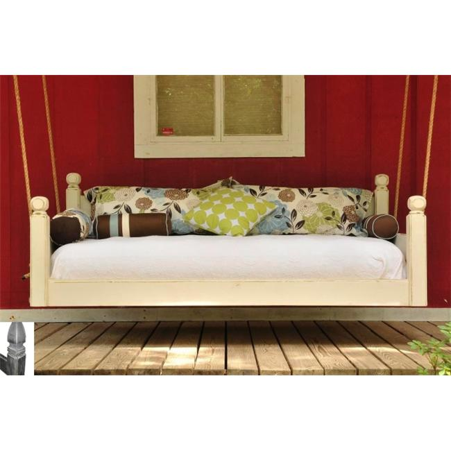 Swing Beds Online ORG-TWN-CYP-ANT-CATH-STN 84 inch Antique Cypress Cathedral Post Tops Original Swingbed - Stain
