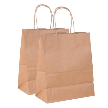 """Incredible Packaging- 8"""" x 5"""" x 10"""" Brown Kraft Paper Bags with Handles for Shopping, Retail and Merchandise. Strong and Reusable  - 80 Paper Thickness"""