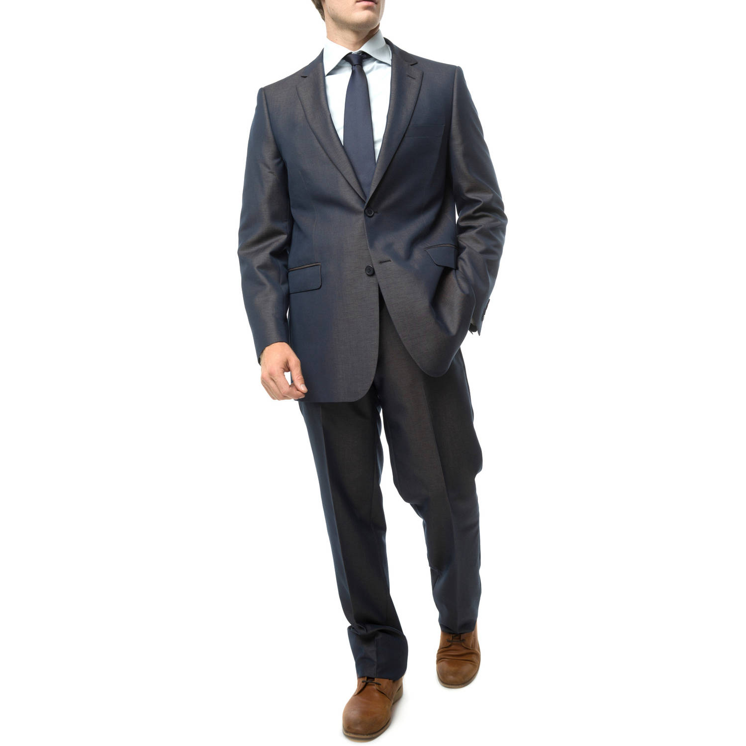 Verno Men's Iridescent Navy Classic Fit Two Piece Suit