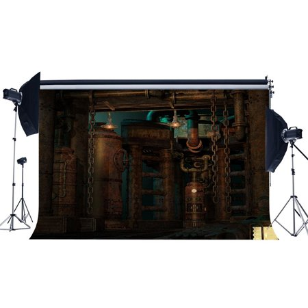 ABPHOTO Polyester 7x5ft Steampunk Backdrop Vintage Metal Gears Industrial Rusty Pillars Gloomy Wall Lantern Grunge Marble Floor Interior Photography Background Adults Photo Studio Props ()