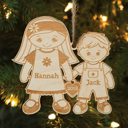 Big Sister and Little Brother Personalized Wood Christmas Ornament