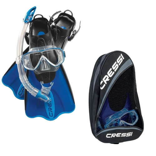 Cressi Sub Palau SAF Mask Fin Snorkel Bag Set (Blue, X-Small   Small) by Cressi Sub