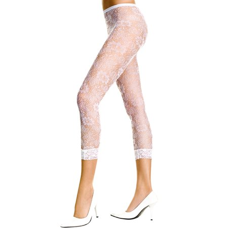 Music Legs White Floral Lace Leggings White One Size Fits
