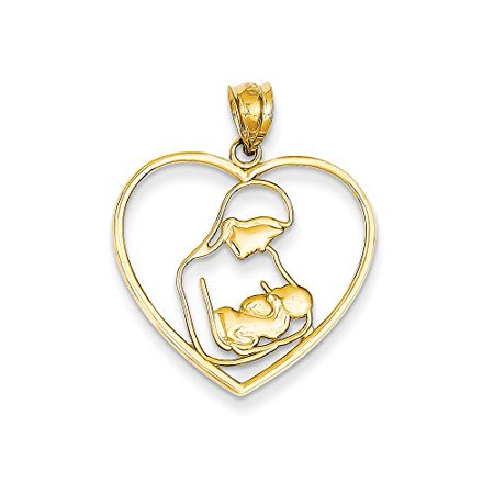 14K Yellow Gold Mother and Child in Heart Charm Pendant