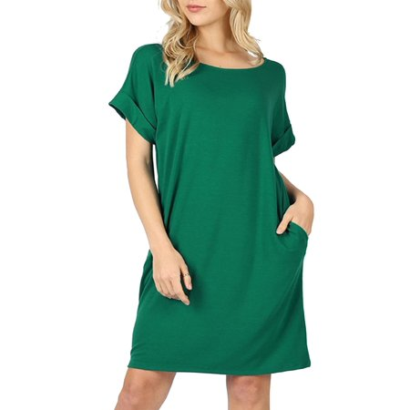 MOA COLLECTION Women's Solid Casual Comfy Soft Roll Up Short Sleeve Relax Fit Pocket Mini Midi Dress