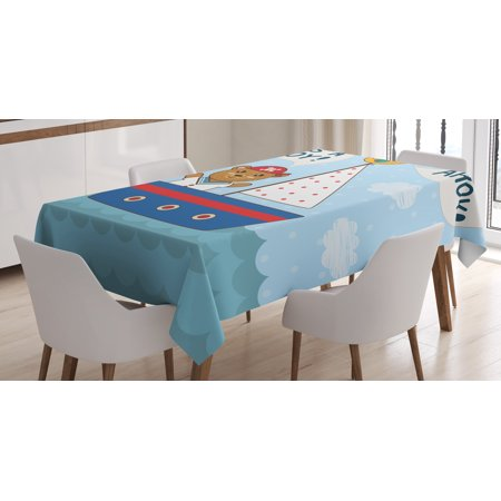 Ahoy Its a Boy Tablecloth, Cute Baby Shower Theme It's a Boy in Nautical Style Bear and Bird in Boat, Rectangular Table Cover for Dining Room Kitchen, 60 X 84 Inches, Multicolor, by Ambesonne (Ahoy Its A Boy Baby Shower Theme)