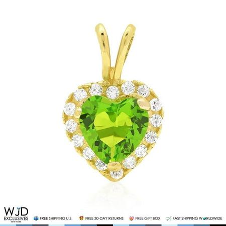 2.20Ct Diamond And Green Peridot Heart Shape Charm Pendant 14K Yellow Gold 0.5