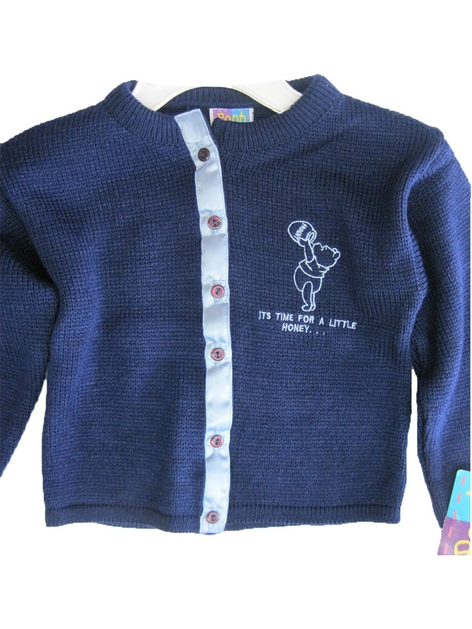 Little Girls Navy Blue Winnie The Pooh Button Knit Sweater 5