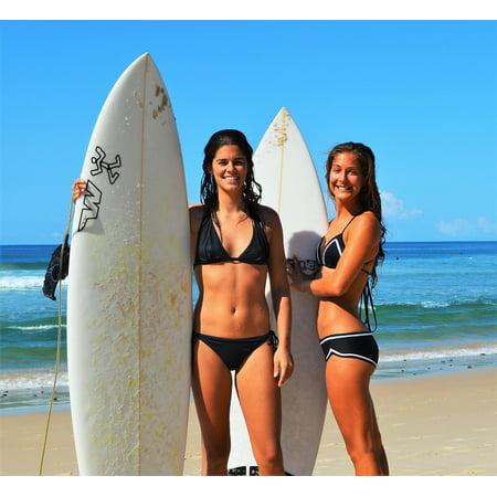Poster Surfboard (LAMINATED POSTER Surfboard Girls Surf Summer Beach Bikini Poster Print 24 x 36 )