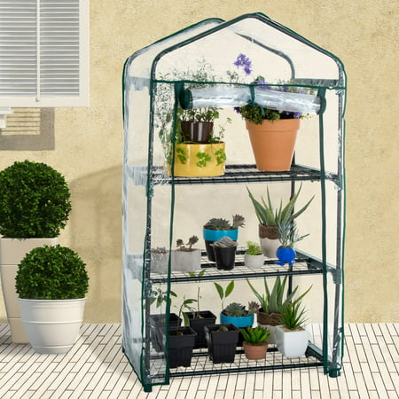 3-Tier Greenhouse – Outdoor Gardening Hot House with Zippered Cover and Metal Shelves for Growing Vegetables, Flowers and Seedlings by Pure
