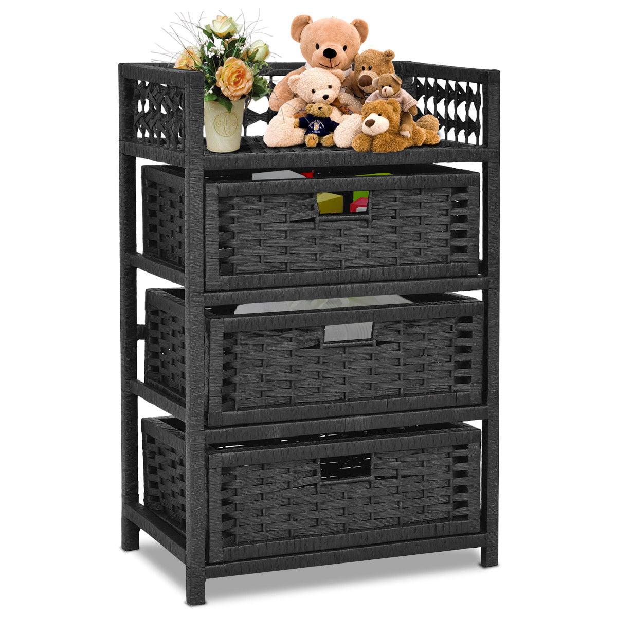 Genial Gymax Storage Chest Tower Shelf 3 Drawer Wicker Baskets Storage Unit Black