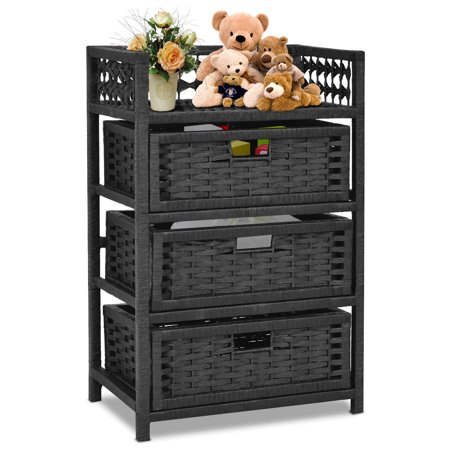 Gymax Storage Chest Tower Shelf 3 Drawer Wicker Baskets Storage Unit - Wicker Storage Baskets
