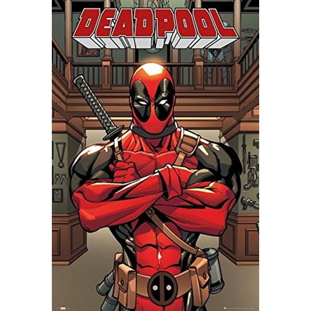 Deadpool - Arms Crossed 36x24 DC Comic Art Print Poster Wade Wilson Mercenary - Deadpool Posters