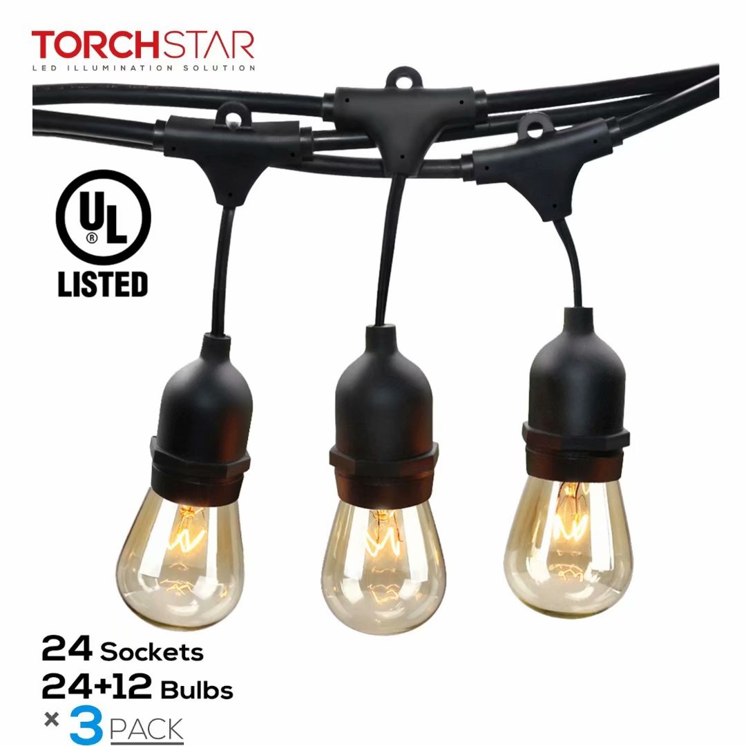 TORCHSTAR 3 Pack 50ft Outdoor Commercial String Lights, 24 Sockets, 36 Bulbs Included