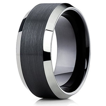 10mm Tungsten Wedding Band Black Tungsten Carbide Ring Polished Silver Shiny Edges Tungsten Ring Men & Women Comfort -