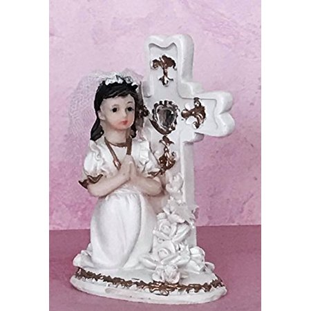 Communion Praying Girl with Cross Cake Topper or Gift](First Communion Cake Topper)