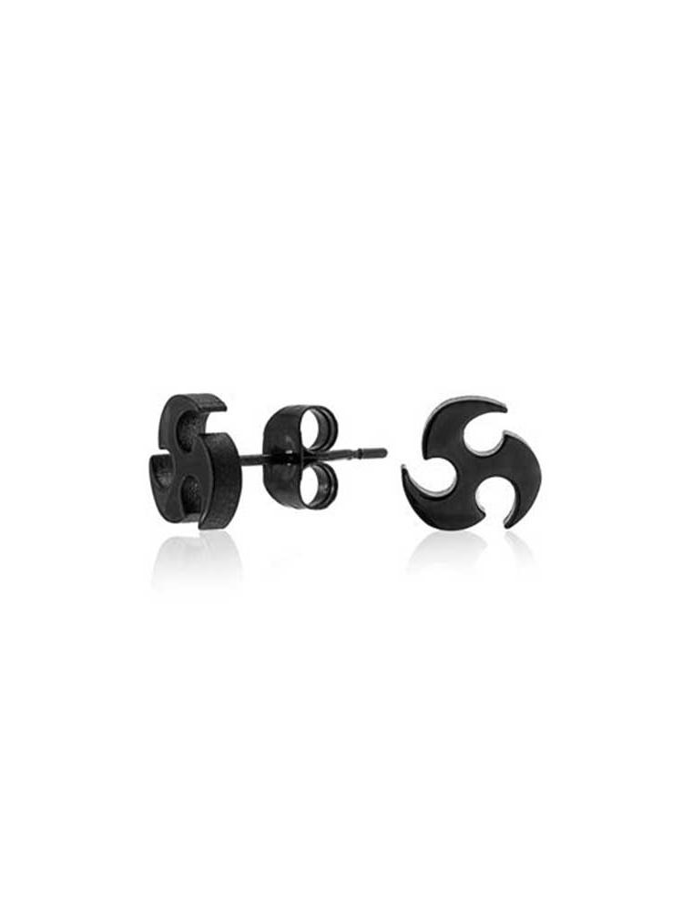 Tribal Blade Ninja Star Stud Earrings For Men Black IP Plating Stainless Steel Polished Finish 7.MM