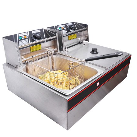 Commercial 12L 5000W Professional Electric Countertop Deep Fryer Dual Tank Stainless Steel For Restaurant