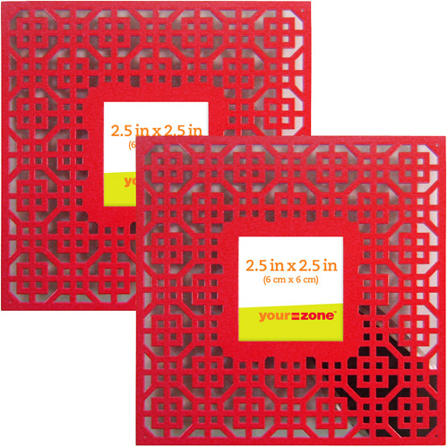 your zone 2.5x2.5 geometric picture frame, red, set of 2