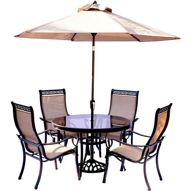 Monaco Dining Set with Sling Chairs & Umbrella - 5 Piece