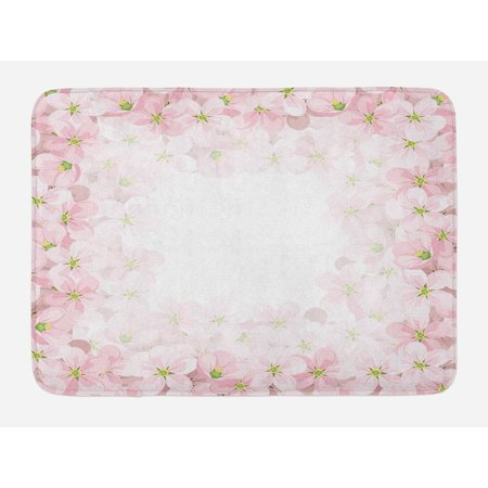 Essence Slip - Floral Bath Mat, Romantic Apple Flower Petals Blooms Nature Essence Beauty Bouquet Image, Non-Slip Plush Mat Bathroom Kitchen Laundry Room Decor, 29.5 X 17.5 Inches, Baby Pink Lime Green, Ambesonne