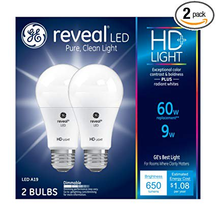 General Electric 98877 9W A19 2850 Reveal Heavy Duty LED Light Bulb - Pack of 2