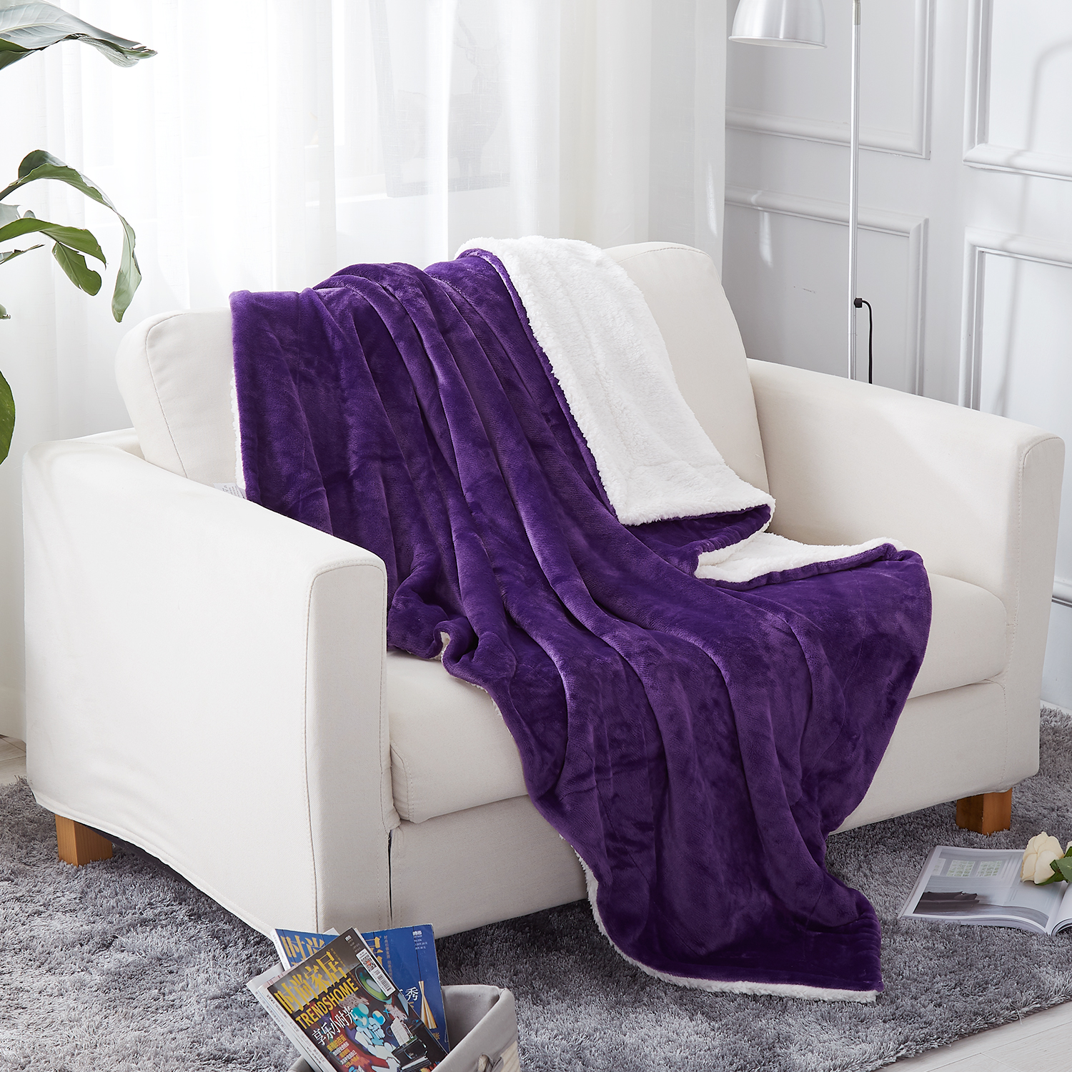 Sherpa Fleece Blanket Twin Size 60 Quot X80 Quot Purple Plush